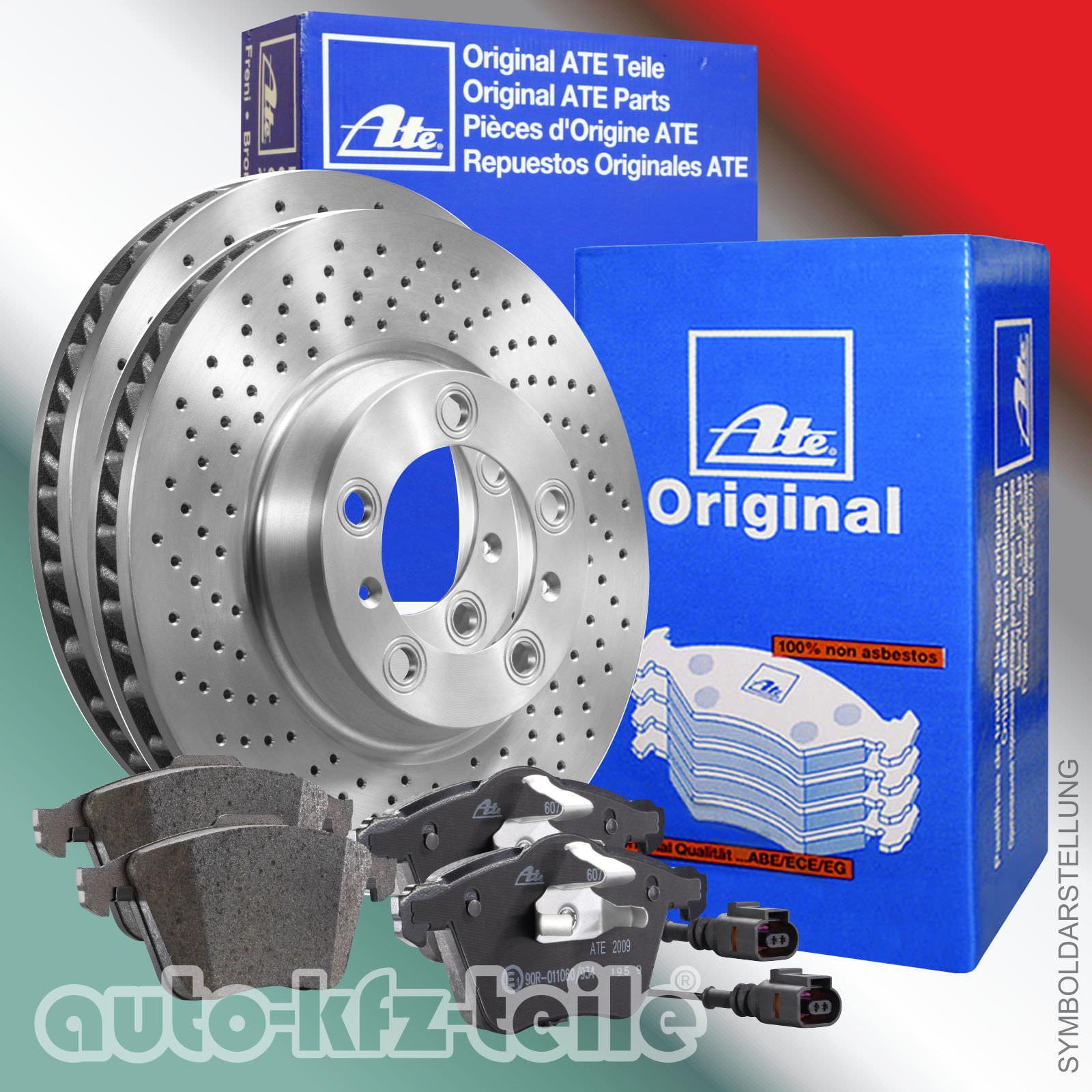 Ceramicbeläge und Warnkontakt Vorne ATE Bremsenset Mercedes C-Klasse W204 inkl